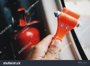 stock photo in case of emergency car train monorail and airplane safety red hammers to break the window